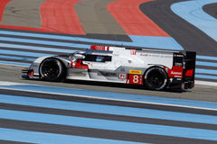 Red and blue lines with the Audi R18 Royalty Free Stock Photo