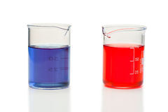 Red and blue liquid in beakers Stock Images