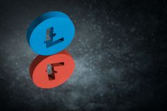 Red and Blue Litecoin Currency Symbol With Mirror Reflection on Dark Dusty Background stock illustration