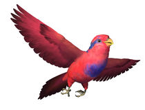Red and Blue Lory Flying. 3D render depicting a Red and Blue Lory in flight Royalty Free Stock Images