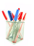 Red and Blue magic color pens. Color pens in a basket Isolated on White background Royalty Free Stock Photography