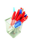 Red and Blue magic color pens. Color pens in a basket Isolated on White background Stock Photo