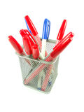 Red and Blue magic color pens. Magic color pens in a basket squre aluminiums on white background Stock Images