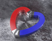 Red and blue magnets on rusty floor Royalty Free Stock Photos