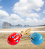 Red and blue maracas Stock Image