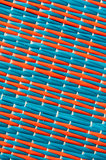 Red and Blue Mat. Two color of woven plastic mat,red and blue Royalty Free Stock Photos