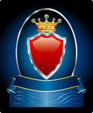 Red blue medallion. Vector red shield with golden crown on blue medallion Stock Image