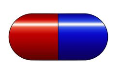 Red and blue medicine capsule stock illustration