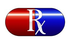 Red and blue medicine capsule Stock Photos