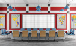 Red and blue Meeting room vector illustration