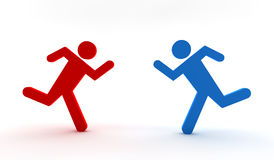 Red and blue men running Stock Photography