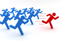 Red and blue men running Royalty Free Stock Photo