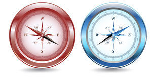 Red and Blue Metallic Compasses Stock Images