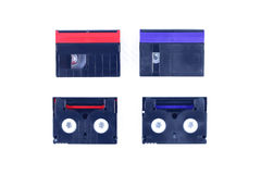Red and blue mini DV cassette royalty free stock photos