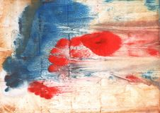 Red Blue nebulous watercolor paper. Hand-drawn abstract watercolor texture. Used contrasting and transient colors Stock Image