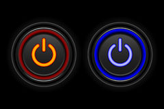 Red and Blue neon button icon. On black background royalty free illustration