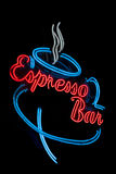 Red, Blue Neon Sign for an Expresso Bar Stock Images