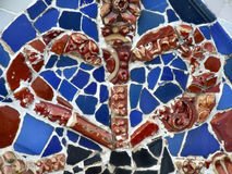 Red and blue old colorful mosaic Royalty Free Stock Photo
