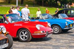 Red & blue oldtimer sport cars stock photos