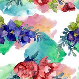 Red, blue and orange bouquet. Floral botanical flower. Watercolor illustration set. Seamless background pattern. vector illustration