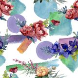 Red, blue and orange bouquet. Floral botanical flower. Watercolor illustration set. Seamless background pattern. stock illustration