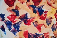 Abstract paint watercolor red pink blue gold structure, abstract vivid background Royalty Free Stock Image