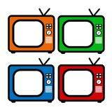 Red, blue, orange and green retro tv drawing. Flat style vector. Television icon, symbol isolated on white background. Multimedia. Device. Set of four royalty free illustration