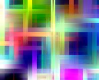 Red blue orange pink phosphorescent colors, geometries lights, abstract background stock photo
