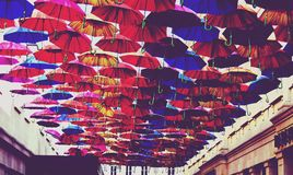 Red, Blue, and Orange Umbrella Lot Royalty Free Stock Photography