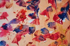 Abstract paint watercolor red blue structure, abstract vivid background Royalty Free Stock Images