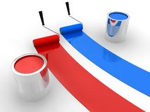 Red and blue paint. On white surface vector illustration