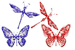 Red and blue painted butterflies and dragonflies. Set stock illustration