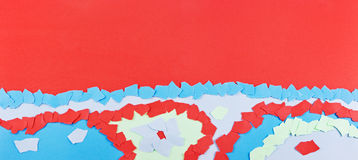 Red and blue paper background. From torn paper scraps Stock Images