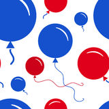 Red and Blue Party Balloon Pattern on White Background Royalty Free Stock Image
