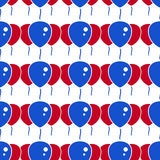 Red and Blue Party Balloon Pattern on White Background Stock Image