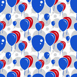 Red and Blue Party Balloon Pattern on White Background Stock Images