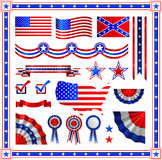 Red and blue patriotic American badges labels with flag, banners, round, shields wreaths in the colour pattern of the Stock Photo