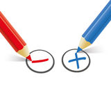 Red Blue Pen Pro Contra Royalty Free Stock Images