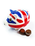 Red and Blue Piggy Bank and Money Coins Isolated Royalty Free Stock Photos