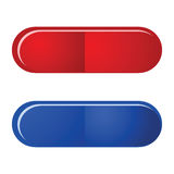 Red and blue pill Stock Photos