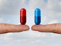 Red And Blue Pill. Choice as fingers holding medication capsules as a symbol of choosing between truth and illusion or knowledge or ignorance or pharmaceutical vector illustration