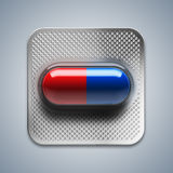 Red and blue pills in blister packaging on blue background. 3d rendering Royalty Free Stock Photos