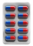 Red and blue pills in blister packaging isolated on white background. 3d rendering Royalty Free Stock Photo
