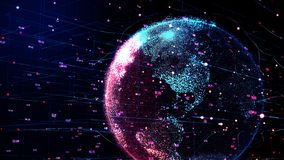 Red and blue Planet Earth rotating in global futuristic cyber network