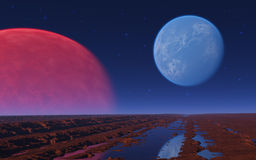 Red and blue planet in the star sky. Stock Photography