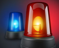 Red and blue police lights. 3d illustration Stock Photos