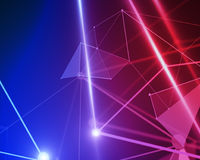 Red and blue polygonal background, technology. Abstract mesh wireframe connected point red and blue polygonal background. Technology, innovation and network Stock Image