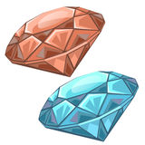 Red and blue precious faceted gems, chips Royalty Free Stock Photos