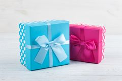 A red and blue present boxes stock images