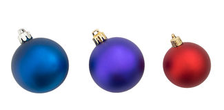 Red blue and purple Christmas bauble, balls isolated on white ba Royalty Free Stock Photo